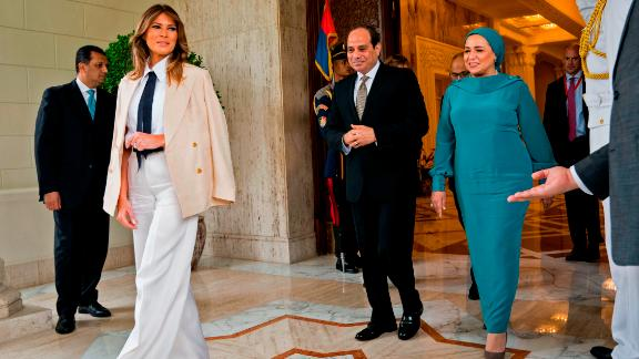 First Lady Melania Trump meets with Egyptian President Abdel Fattah al-Sisi and his wife, Intissar Amer al-Sisi, at the Presidential palace in Cairo on October 6.