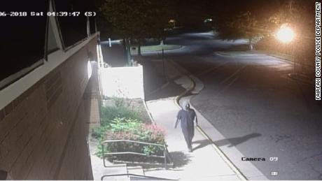 Surveillance footage from the Jewish Community Center of Northern Virginia in Fairfax County shows the person who spray-painted swastikas on the building early Saturday.