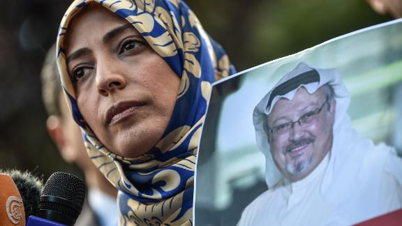 Nobel Peace Prize laureate Tawakkol Karman holds a picture of missing journalist Jamal Khashoggi during a demonstration outside the Saudi consulate in Istanbul.