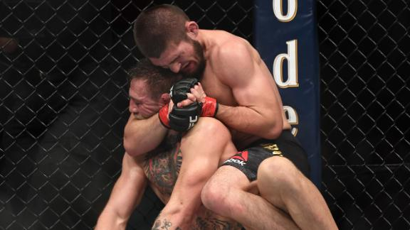 Khabib Nurmagomedov of Russia performs a rear-naked choke on Conor McGregor of Ireland in their UFC lightweight championship bout during the UFC 229 event inside T-Mobile Arena on October 6, 2018. Nurmagomedov defeated McGregor by submission in the fourth round.