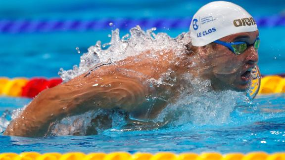 Chad Le Clos of South Africa competes during the Men's 100m Butterfly final on day one of the FINA Swimming World Cup at Duna Arena on October 4, 2018 in Budapest, Hungary.