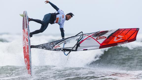 Eight-time World Champion windsurfer Gollito Estredo competes in a freestyle competition at the Mercedes-Benz Windsurf World Cup on October 2, 2018.