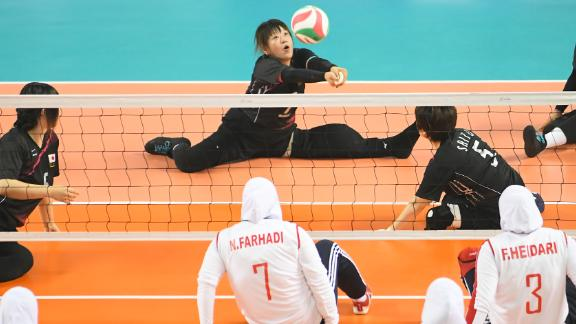 Michiyo Nishiie of Japan returns the ball against Iran in a sitting volleyball match during day one of the Asian Para Games on October 7, 2018 in Jakarta, Indonesia.