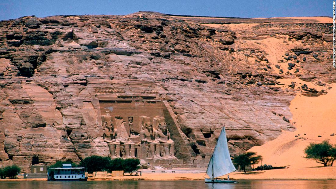 The Abu Simbel temple complex -- seen here in 1960 -- had to be relocated when the High Aswan Dam was constructed.