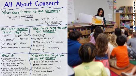 A teacher in California is explaining the concept of consent to her third-graders with a simple chart