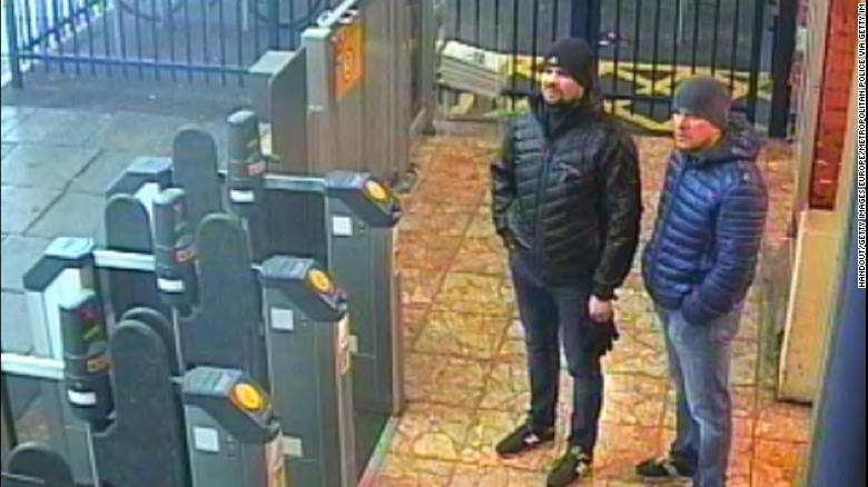 The suspects, seen here in Salisbury, were initially identified as Alexander Petrov and Ruslan Boshirov.