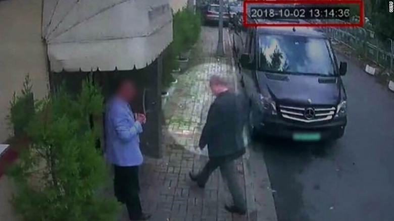 CCTV footage shows Khashoggi entering the Saudi consulate on October 2.