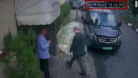A closed-circuit TV image of Jamal Khashoggi entering the Saudi Consulate in Istanbul on October 2.