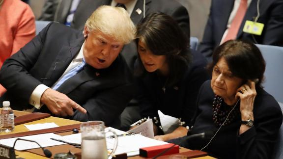NEW YORK, NY - SEPTEMBER 26:  President Donald Trump speaks with his United Nations (U.N.) ambassador Nikki Haley while chairing a United Nations Security Council meeting on September 26, 2018 in New York City. Trump presides over the 15-member council as the United States holds the monthly rotating presidency. The Security Council meeting coincides with the 73rd United Nations General Assembly at the U.N.  (Photo by Spencer Platt/Getty Images)