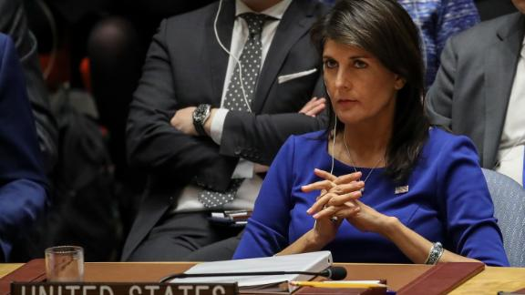 NEW YORK, NY - APRIL 14: United States Ambassador to the United Nations Nikki Haley listens during a United Nations Security Council emergency meeting concerning the situation in Syria, at United Nations headquarters, April 14, 2018 in New York City.  Yesterday the United States and European allies Britain and France launched airstrikes in Syria as punishment for Syrian President Bashar al-Assad