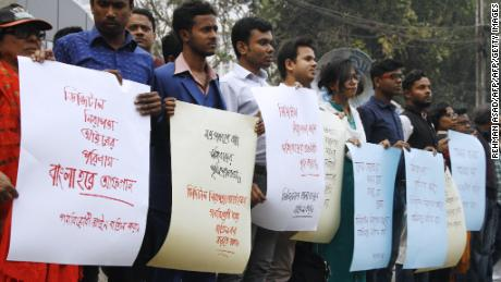Bangladeshi activists protest the Digital Security Act in Dhaka on February 2, 2018.