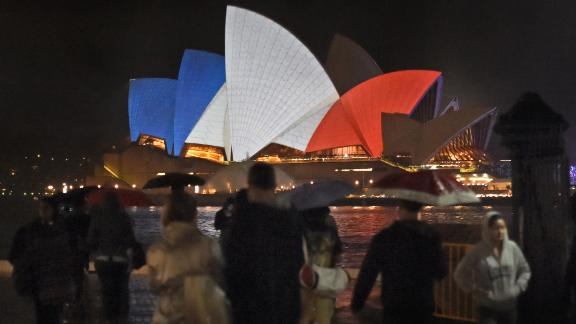 In 2015, the Opera House sails were colored red, white and blue to show solidarity with France after coordinated terror attacks.