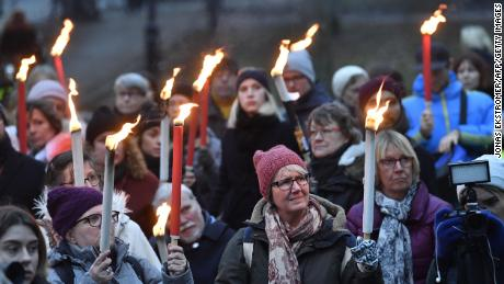 People attend a rally in Stockholm in January in support of #MeToo and all victims of sexual offenses.