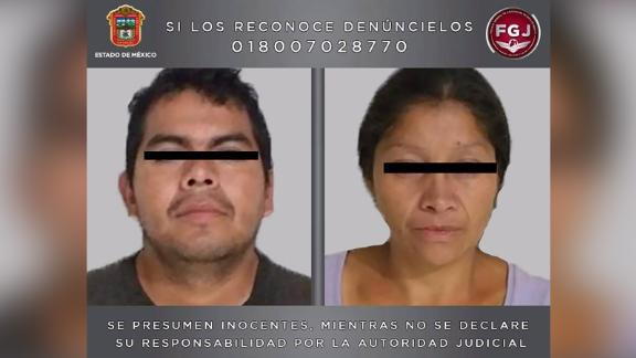 """Mugshots of """"Juan Carlos N"""" and """"Patricia N"""" who are accused of killing at least 10 women."""