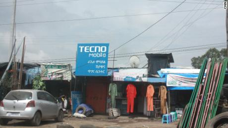 A Tecno sign in Addis Ababa. The brand is a common sight in African cities.