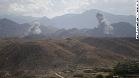 The aftermath of an air strike on insurgents in the eastern province of Nangarhar on July 8.