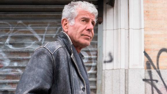 """NEW YORK, NEW YORK - APR 1: Anthony Bourdain explores the Lower Eastside of New York City, New York on April 1, 2018.  (photo by David Scott Holloway)  """"Parts Unknown -  Lower Eastside""""   25219_031"""
