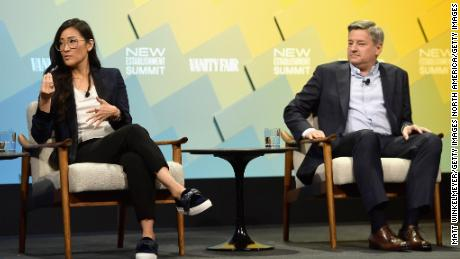 Lisa Nishimura, vice president of original documentary and comedy at Netflix, and Ted Sarandos, chief content officer at Netflix, speak onstage at the Vanity Fair New Establishment Summit 2018.