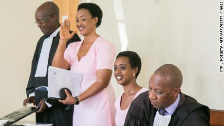Diane Rwigara and her mother Adeline Rwigara inside Kigali's High Court on September 24, 2018.