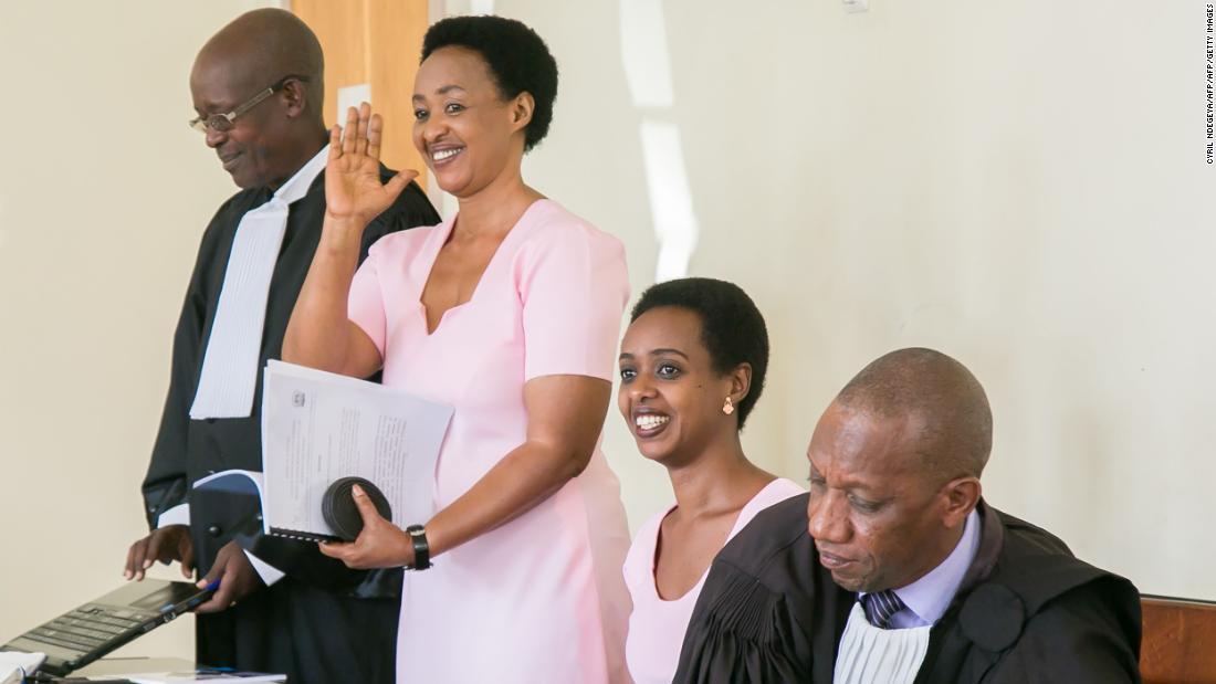Diane Rwigara and her mother Adeline Rwigara inside Kigali's High Court on September 24, 2018.