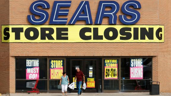 Store closing sale advertising at a Sears department store in Medicine Hat, Alberta on Sept. 13, 2017. (Larry MacDougal via AP)