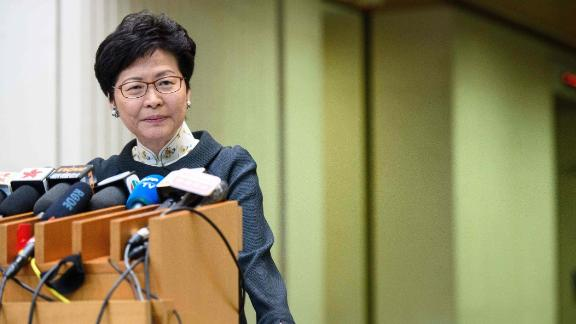 Hong Kong Chief Executive Carrie Lam listens to a question during her weekly address at the government headquarters in Hong Kong on October 9, 2018.