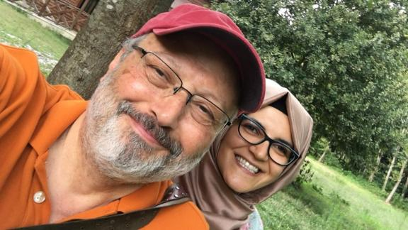 Journalist Jamal Khashoggi is pictured with his fiancee, Hatice Cengiz.