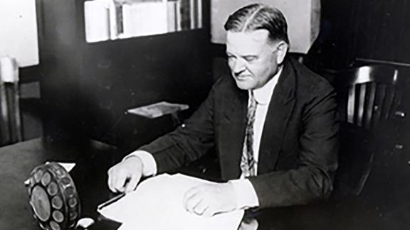 Secretary of Commerce Herbert Hoover broadcasts a plea to the nation to donate funds for disaster relief for the victims of the Mississippi flood in April 1927.