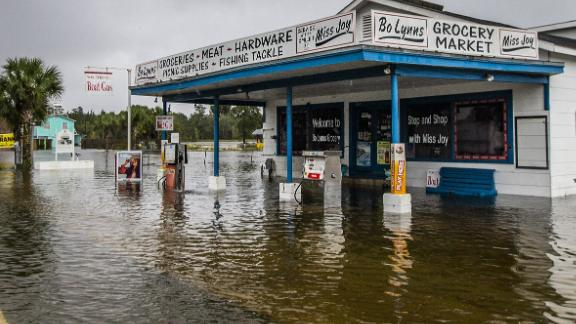 Bo Lynn's Market is flooded in St. Marks on October 10.