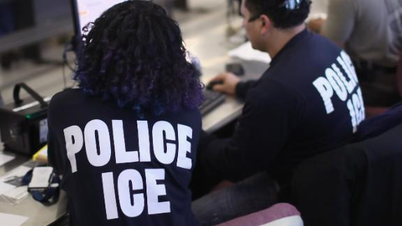 U.S. Immigration and Customs Enforcement (ICE), officers process detained undocumented immigrants on April 11, 2018 at the U.S. Federal Building in lower Manhattan, New York City.(Photo by John Moore/Getty Images)
