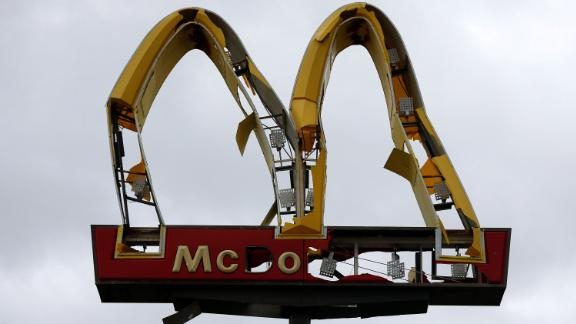 A McDonald's sign is mangled in Panama City on October 10.