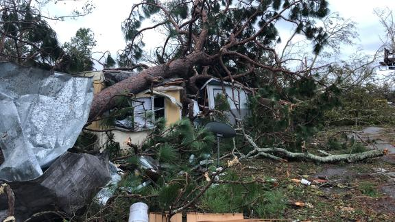A tree sits on top of a Panama City mobile home. Almost all the residents of the mobile-home park rode out the storm. All homes were damaged except one.