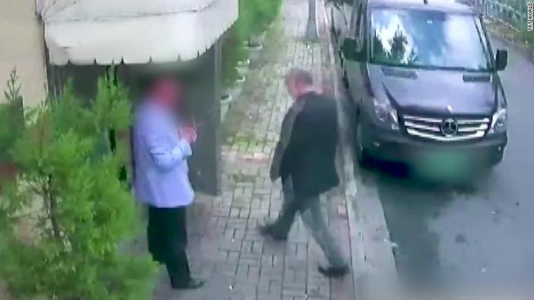 A security camera image shows Khashoggi entering the Saudi Consulate in Istanbul.