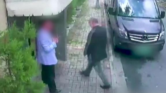 Closed Circuit TV footage shows Saudi journalist Jamal Khashoggi entering the Saudi consulate in Istanbul before disappearing.  The face of the other man picutred as well as the license plate on the car were blurred by CNN.