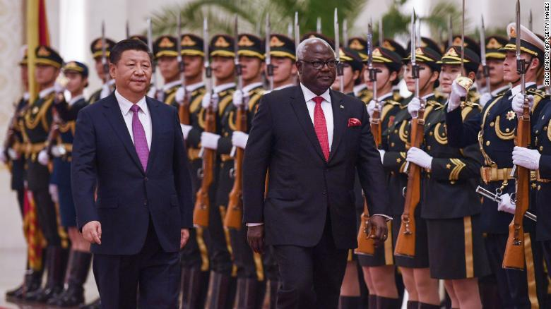 Sierra Leone's former president Ernest Bai Koroma with Chinese President Xi Jinping in Beijing in 2016.