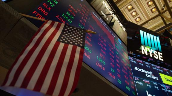 The numbers are displayed after the closing bell of the Dow Industrial Average at the New York Stock Exchange on October 10, 2018 in New York. - Wall Street stocks plunged Wednesday, with major indices losing more than three percent in a selloff prompted by the sudden jump in US interest rates. At the closing bell, the Dow Jones Industrial Average had lost 3.1 percent or 830 points to finish at 25,613.35, in the biggest fall since February. (Photo by Bryan R. Smith / AFP)        (Photo credit should read BRYAN R. SMITH/AFP/Getty Images)