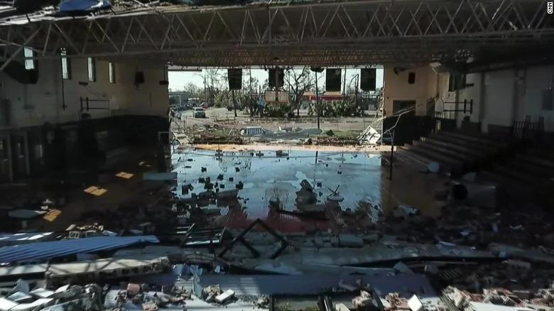 Hurricane Michael ripped off walls from Jinks Middle School in Panama City, Florida.