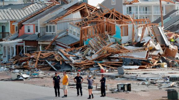 Rescuers search aftermath of Hurricane Michael in Mexico Beach.