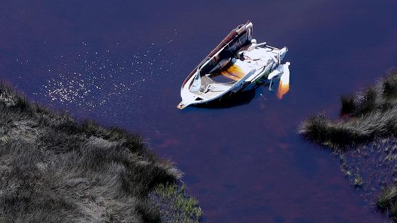 An aerial photo shows a destroyed boat in Mexico Beach on October 11.