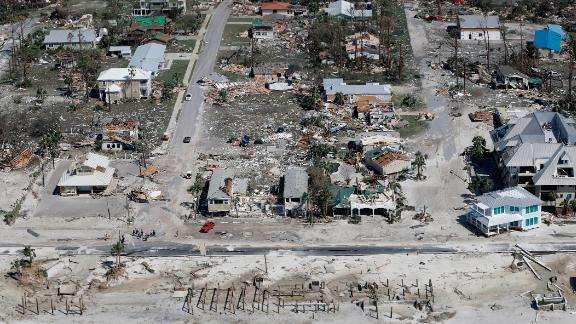 Hurricane Michael destrpyed homes in Mexico Beach, Florida.