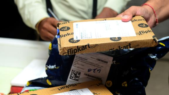 Flipkart delivery packets in New Delhi, India.