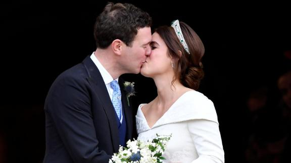 Princess Eugenie and Jack Brooksbank kiss after their wedding at St George