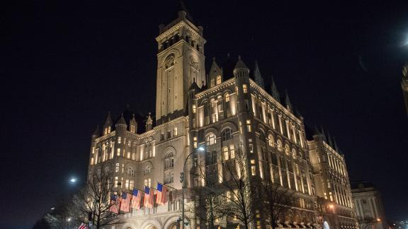 WASHINGTON, DC - JANUARY 19:  A view outside Trump International Hotel Washington, D.C. one day before the inaguration of Donald Trump January 19, 2017 in Washington, DC. Hundreds of thousands of people are expected to come to the National Mall to witness Trump being sworn in as the 45th president of the United States  (Photo by Noam Galai/WireImage)