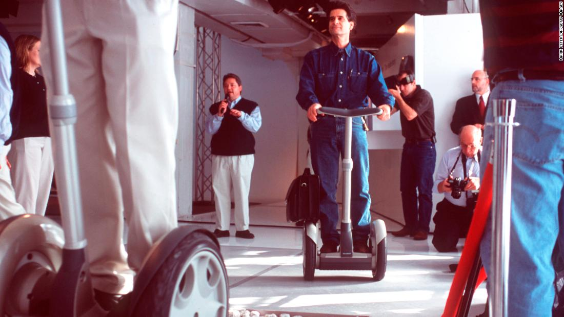 Dean Kamen rides the Segway PT. (Photo by Mark Peterson/Corbis via Getty Images)