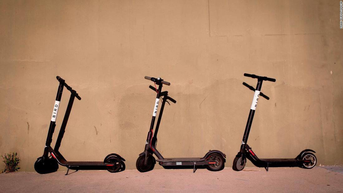 Bird scooters rest on a sidewalk in San Diego. (Frank Duenzl/picture-alliance/dpa/AP Images)