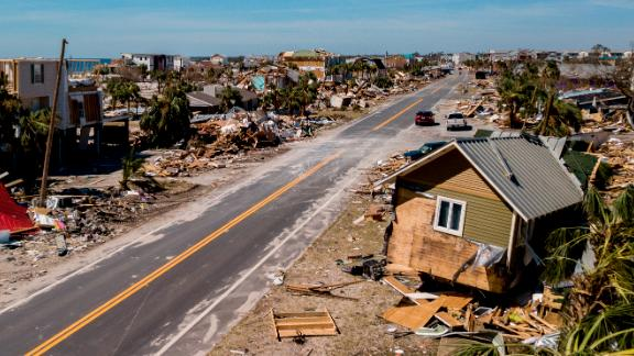 An aerial view shows the devastation in Mexico Beach on October 12. The small beach resort saw the brunt of Michael, authorities say.