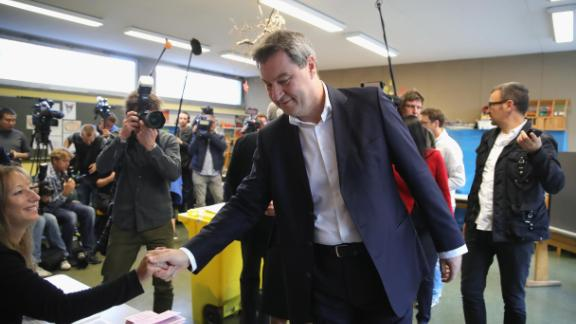 Bavarian Governor Markus Soeder of the Christian Social Union (CSU) casting his vote in Nuremberg, Germany on Sunday.