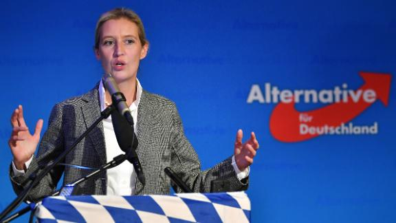 Alice Weidel of the right-wing Alternative for Germany (AfD) speaking to supporters after exit poll results Sunday in Mamming, Germany.