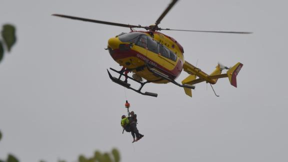 A rescue helicopter near Carcassone responds to the flooding.