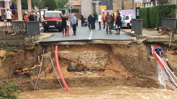 A broken bridge on the river Trapel in Villegailhenc, near Carcassone in southern France.